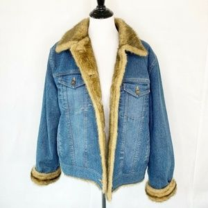 Marvin Richards Jean Jacket Blue Brown Faux Fur XL